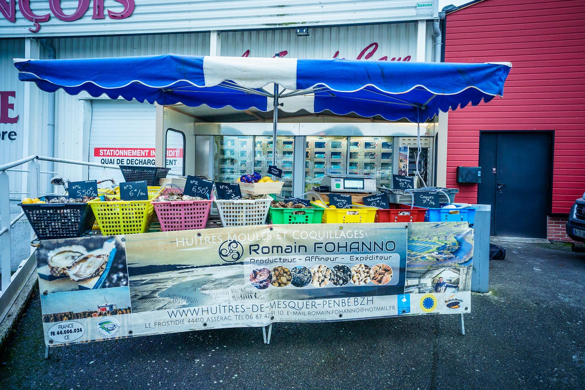 Retrouvez les huîtres de Mesquer sur le marché à Guérande le Dimanche matin